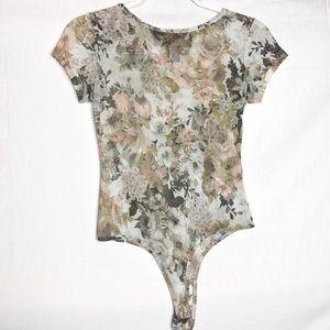 Tops - Polly & Esther | Sheer Mesh Floral Bodysuit